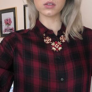 Express red plaid blouse NWOT